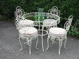 vintage wrought iron garden furniture. Vintage Wrought Iron Patio Furniture | French Conservatory / Cafe Table Garden N