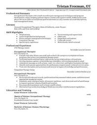 Occupational Therapy Resume Template Interesting Occupational Therapy Resume Resume Sample