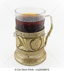glass of russian tea in vintage glass holder podstakannik csp32389916