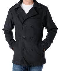 empyre swagger mens charcoal grey pea coat