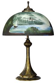 1920s 1930s Antique Brass Table Lamp With Reverse Painted Glass Shade Similar To Galle Style