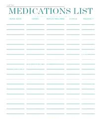 Medication Lists Templates Med Card Template Things To Do List Templates Co Ati