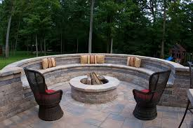 patio set with gas fire pit table terrific curved cinder block fire pit design jpg