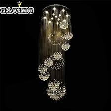 modern large crystal chandelier light fixture for lobby staircase stairs foyer long spiral crystal light re ceiling lamp large pendant lighting