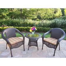 oakland living elite resin 3 piece wicker patio bistro set with striped olive cushions