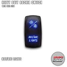 amazon com blower blue stark 5 pin laser etched led rocker nav anc lights blue stark 5 pin laser etched led rocker switch dual light 20a 12v on off