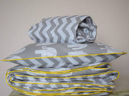 pure cotton cot bed duvet cover set ed sheet grey chevron elephants with yellow piping