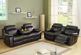 reclining living room furniture sets. Homelegance Marille 2 Piece Reclining Living Room Set In Black Leather Furniture Sets