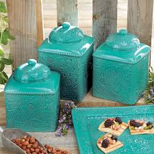 Turquoise Kitchen Decor Savannah Turquoise Canister Set 3 Pcs