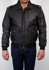 mens pilot leather er jacket black