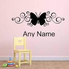 Butterfly Home Decor Accessories Unique Design Butterfly Styling Decal Any Name Vinyl Wall Sticker 51