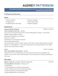 Tata Consultancy Services Assistant System Engineer Resume Sample