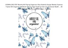monthly bill organizer notebook download pdf monthly bill paying organizer blue butterfly design wee