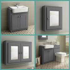 traditional grey bathroom vanity unit basin furniture storage cabinet mirror 1 of 7free