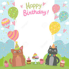 Templates For Birthday Cards Happy Birthday Card Background Withdog And Cat Vector Holiday