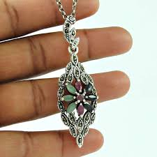 personable ruby emerald marcasite black onyx gemstone 925 sterling silver pendant jewellery