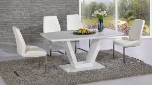 modern white high gloss gl dining table and 6 chairs set
