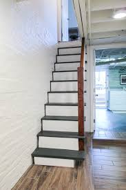 painted basement stairs. upgrading basement stairs with paint and plywood - no need to rip them out! painted s