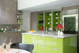 green apple kitchen contemporary with gray countertop stainless steel  island range hoods