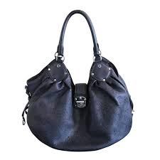 louis vuitton mahina large black leather hobo shoulder bag purse for