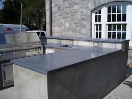 blue gray concrete countertops for outdoor kitchen
