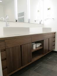 custom double sink bathroom vanity. amazing brown solid plywood custom floating vanity with storage and cool white double sink arch bathroom o