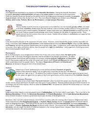 Enlightenment Thinkers Comparison Chart The Enlightenment And The Age Of Reason