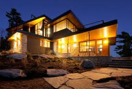 view modern house lights. Cliff House In Muskoka Lakes. View Modern Lights A