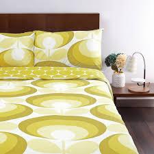 orla kiely yellow 70s oval flower super king duvet cover