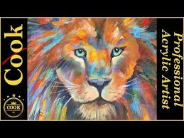 lion painting acrylic. Contemporary Lion How To Paint A Colorful Lion Portrait For Beginners In Painting Acrylic D