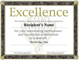 Free Printable Award Certificate Template Excellence Award