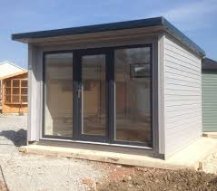 office garden shed. 10 X Garden Office With U-PVC Door And Side Screens - Painted In Shed E
