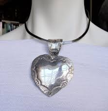 vintage huge heart 925 mexico sterling pendant necklace extra