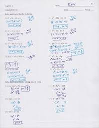 solving quadratic equations by factoring worksheet