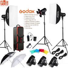 ox e300 14in1 professional studio flash photography light set suitcase portable umbrella softbox