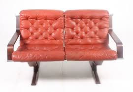 mid century red leather sofa 7 1 743 00