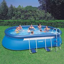 intex above ground swimming pool. Amazon.com : Intex 18ft X 10ft 42in Oval Frame Pool Set With Filter Pump, Ladder, Ground Cloth \u0026 Cover Garden Outdoor Above Swimming