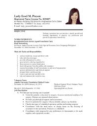 Ideas Of Sample Resume For Filipino Nurses Applying Abroad Marvelous