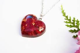 resin heart pendant necklace real flower pendant love heart necklace handmade