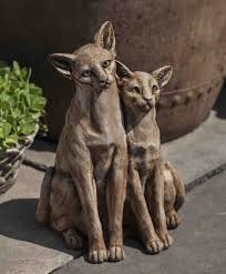 campania international siamese cats garden statue