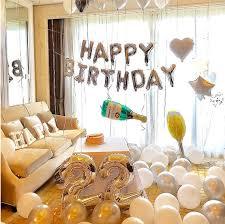 silver happy birthday decoration set