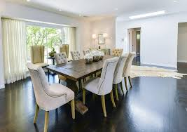 trestle dining table with tufted dining chairs