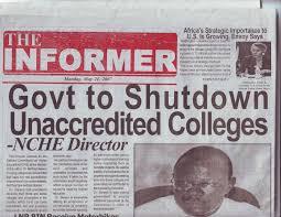 Information Concerning Unaccredited Universities