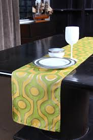s9home by seasons 6 seater contemporary yellow green table runner