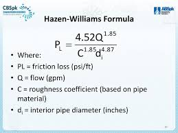 Hazen Williams Formula Pipe Flow Chart Hydraulics For Fire Protection Ppt Download