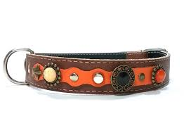 luxury orange and brown leather dog collar for big size dogs jpg