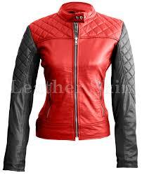 leather skin women red black sleeves shoulder quilted genuine leather jacket