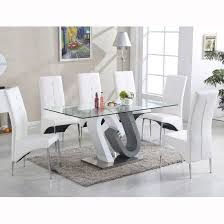barcelona dining table in clear gl top with stainless steel base with 6 vesta chairs in faux leather select the chairs colour from above option finish