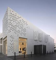 Perforated facade detail. EQUITONE facade materials. Retail project by RTA  architects, Auckland.