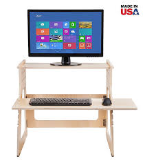 com well desk adjule standing desk riser simple and solid stand up desk converter made in the usa of premium birch plywood relieve back